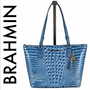 BRAHMIN NWT BLUE LEATHER SHOULDER TOTE BAG